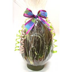 Hollow dark chocolate art egg 215mm high $35.00 Dark Chocolate with white chocolate designs Designs vary images are examples only Made using the same quality chocolate that we use in all our chocolates. Please Click the image for more information.
