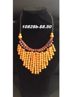 10828B ORANGE WOODEN DROP NECKLACE Please Click the image for more information.