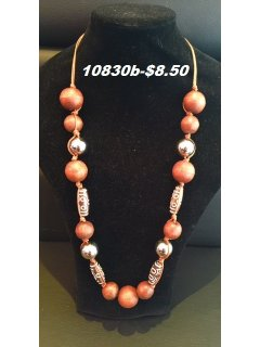 10830B BROWN WOOD BEADED NECKLACE Please Click the image for more information.