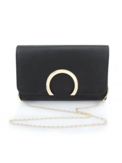 H0725 BLACK EVENING BAG WITH HALF MOON CLASP Please Click the image for more information.