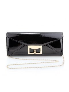 H0728 BLACK PATENT EVENING BAG WITH ENVELOPE CLASP Please Click the image for more information.