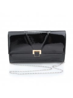 H0729 BLACK PATENT OVERSIZE CLUTCHLONG CHAIN INCLUDED  Please Click the image for more information.