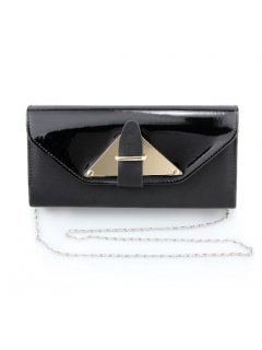 H0730 BLACK PATENT VINYL EVENING BAG Please Click the image for more information.