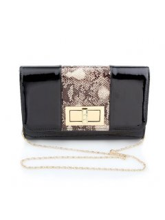 H0731 BLACK PATENT EVENING BAG WITH ANIMAL PRINT INSERT Please Click the image for more information.