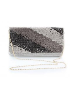 H0732 SILVER EVENING BAG WTH BLACK GREY  SILVER PATTERN Please Click the image for more information.