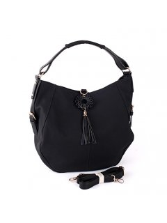 H0735 BLACK SLOUCH HANDBAG WITH TASSLE DROP FEATURE Please Click the image for more information.