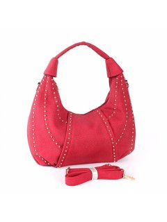 H0738A RED STUDDED SLOUCH BAG Please Click the image for more information.