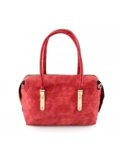 H0741A RED FAUX SEUDE HANDBAG WITH CROSS STITCHED FEATURE Please Click the image for more information.