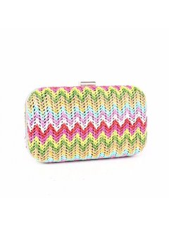 H0744 MULTI COLOURED WEAVE EVENING BAG Please Click the image for more information.