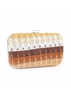 H0745A BROWN TONE WOVEN EVENING BAG Please Click the image for more information.