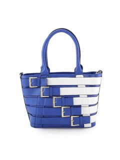 H0747C BLUE  WHITE BELTED HANDBAG Please Click the image for more information.