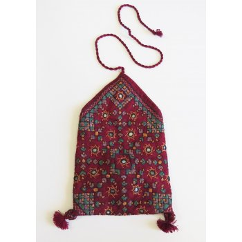 Indian Embroidered Bag with cord wrap Hand embroidered cotton  envelope pouch from Gujarat India  The bag is hand embroidered in silk thread and some incorporate small mirrors  . Please Click the image for more information.