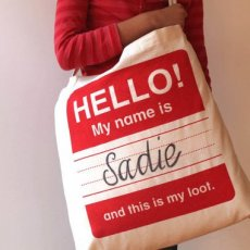 HELLO! My Name Is.. Tote Red Limited Edition screen printed Tote designed by Shannon Lamden Fabulous tote to store or transport your childs Xmas loot WRITE APPLIQUE or EMBROIDER the recipients name hang from the mantle  load it with gifts After the. Please Click the image for more information.