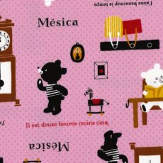 Bears at Home Pink Sweet Japanese Push Pin fabric with the bears at home drawing reading and learning to tell the time Also featuring snippets of French script. Please Click the image for more information.