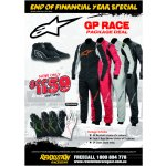 Alpinestars GP RACE Package Deal Package Includes        GP Race Suit choice of 4 colours        Tech1 Race Gloves choice of 5 colours         SP Shoes black only  Offer ends 31st July 2016Please contact your local Revolution Race Gear store for more information. Please Click the image for more information.