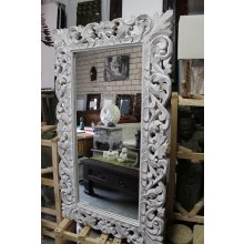 MM 4573 Balinese Carved Flower Mirror  Balinese Carved Flower Mirror Whitewash Please Click the image for more information.