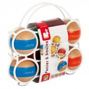 6 Boules Basket Boules is a traditional game making a huge comeback Janod has designed a set of 6 wooden bowls plus two jacks that are presented in a basket with a handle for ease of transportation . Please Click the image for more information.