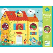 Giant Optic Puzzle House A 20 piece puzzle with large pieces depicting a house and garden full of cute animals The windows of the house feature optical pieces which have two images depending on the viewing angle. Please Click the image for more information.