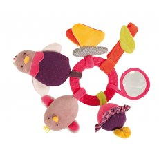 moulin roty les cousins hen activity ring This pink early learning rattle features many play activities a hen with a rattle body a squeaky chick a butterfly with crinkle paper in her wings a flower that vibrates a mirror  a pacifier clip23cm. Please Click the image for more information.