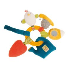 moulin roty les cousins chick activity ring This yellow early learning rattle features many play activities a donkey with a rattle body a squeaky snail a vibrating carrot a watering can with crinkle paper a mirror turnip  a pacifier clip23cm. Please Click the image for more information.