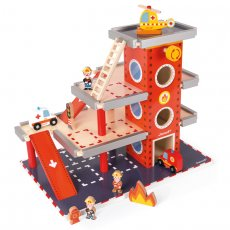 Janod fire station The Janod Fire Station is a musthave for the playroom for little firefighters Fantastic for role play and sparking the imagination the wooden fire station has 4 levels including the helipad and a lift to get from the ground to the second level 10. Please Click the image for more information.