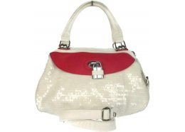 Hand Bag and Shoulder Bag Quality White PU bag with a touch of fuchsia Silver fittings Outside rear zip compartment Two zips and two compartments inside Tw. Please Click the image for more information.