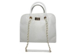 Hand Bag White with Shoulder Strap White Quality PU Bag with silver fittings White has silver fittings and black has gold fittings Inside has a large zip divider one large zip pocket  two open pockets. Please Click the image for more information.