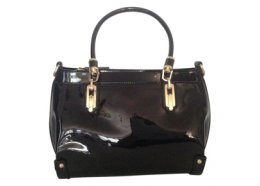 Genuine Patent Black Leather Bag Genuine patent leather bag with shoulder strap Inside two zip pockets one large and two open pockets. Please Click the image for more information.