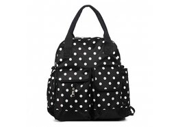 Mummy Bag Black Light and strong with fold out matt and pockets Plenty of room for babies nappies and necessities Black with White Spots. Please Click the image for more information.
