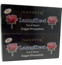 Nandita Laxmi Devi Guggal Dhoop (B/6) Nandita Laxmi Devi Guggal Dhoop is a bambooless incense for wealth and prosperity Nandita Laxmi Devi Dhoop sticks come in a wholesale pack of 6 boxes with 300gms sticks each . Please Click the image for more information.
