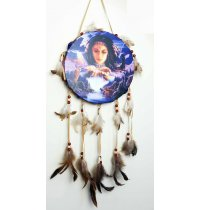 Drum Dream Catchers This range of dream catchers have a center canvas print with long feathers hanging of suede strings Please Click the image for more information.