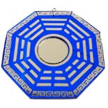 Bagwa mirror blue and silver Bagwa mirror in blue and silver finish representing protection Made from resin Please Click the image for more information.
