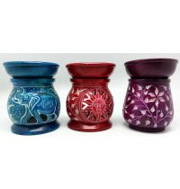 Soap Stone Oil Burners Soap Stone oil burners are hand crafted in Agra India The colours and designs may vary slightly from the picture as these oil burners are hand made. Please Click the image for more information.