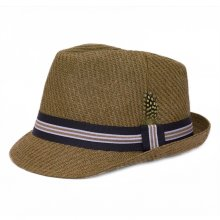 HB SM-HM013B Herringbone Fedora - Clearance Line Brown  Please Click the image for more information.