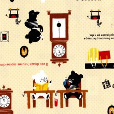 Bears at Home Lemon Sweet Japanese Push Pin fabric with the bears at home drawing reading and learning to tell the time Also featuring snippets of French script. Please Click the image for more information.