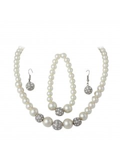 10714 CREAM PEARL NECKLACE BRACELET  DIAMONTE EARRING SET Please Click the image for more information.