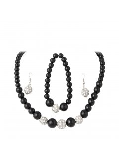10714A BLACK PEARL NECKLACE BRACELET  DIAMONTE EARRING SET Please Click the image for more information.