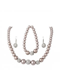 10714B MOCHA PEARL NECKLACE BRACELET  DIAMOTNE EARRINGS Please Click the image for more information.