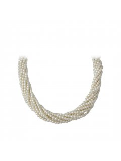 10713 CREAM TWISTED PEARL CHOKER WITH DIAMONTE MAGNETIC CLASP 22 Please Click the image for more information.