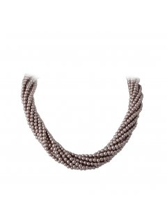 10712B MOCHA TWISTED PEARL CHOKER  22 MAGNETIC DIAMONTE CLASP Please Click the image for more information.