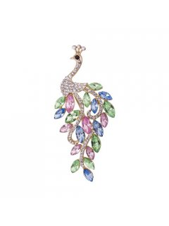 BR0128 MULTI COLOURED GLASS BEAD PEACOCK BROOCH Please Click the image for more information.