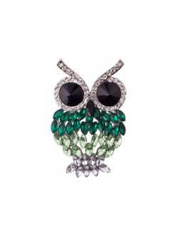 BR0132A GREEN CRYSTAL OWL BROOCH Please Click the image for more information.