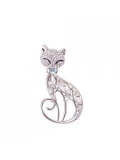 BR0134A SILVER DIAMONTE CAT BROOCH Please Click the image for more information.