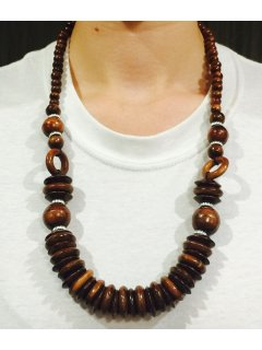 10737 NECKLACE  BROWN WOODEN BEADS Please Click the image for more information.
