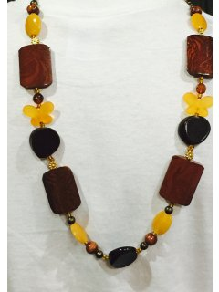 10743B LONG WOODEN NECKLACE IN BROWN  GOLD TONES Please Click the image for more information.