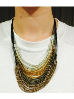10747C GOLD TAN  BLACK BEADED MULTI STRAND NECKLACE Please Click the image for more information.