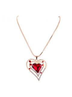 10766 LONG GOLD NECKLACE WITH RED HEART FEAUTRE DROP Please Click the image for more information.