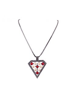 10767A HEMATITE NECKLACE WITH REDCRYSTAL TRIANGLE DROP Please Click the image for more information.