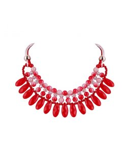 10768B REDPINK BEADED NECKLACE Please Click the image for more information.
