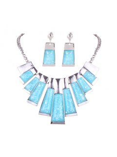 10774C SILVER NECKLACE WITH BLUE RESIN INSERTS Please Click the image for more information.